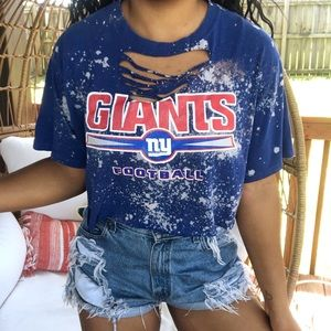 NFL New York Giants Distressed Bleached Crop Top